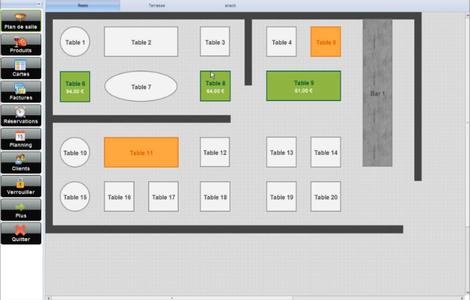 Nattys, logiciel de caisse pour restaurant: plan de salle