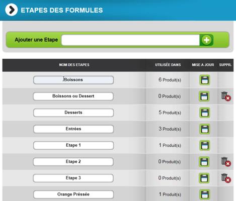 Gestion des formules et menus sur le site web d'e-commerce
