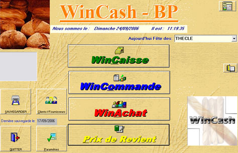 wincash: menu principal