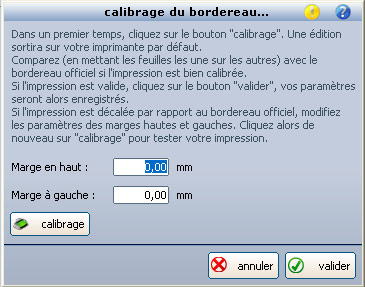 Calibrage du bordereau CRT