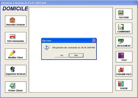 Récupération des commandes internet dans Bacchus