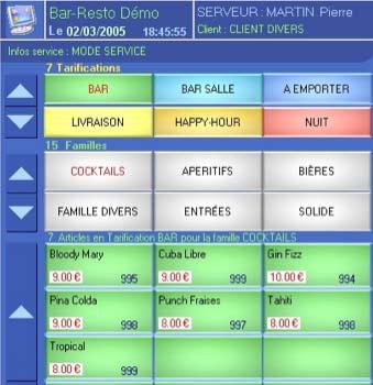 logiciel de caisse bar resto: le pavé tactile