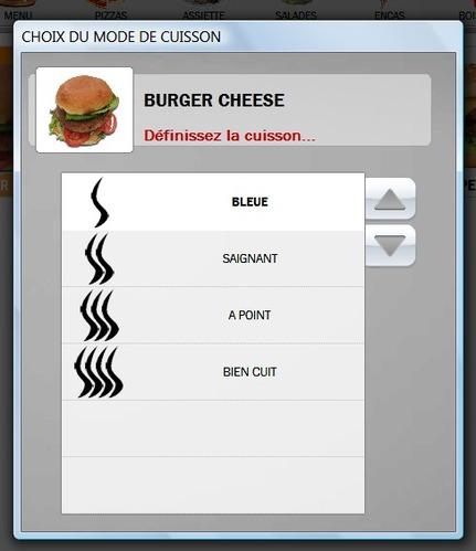 Choix de la cuisson sur la borne tactile de commande