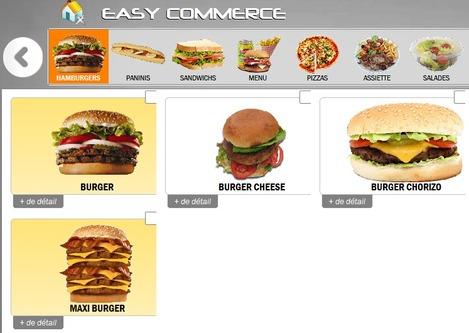 Choix du burger sur l'écran de la borne de commande