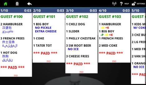 Les tickets de commande affichés par ChefTab