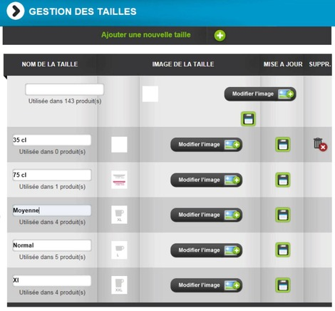 Clyo Systems E-commerce: gestion des tailles