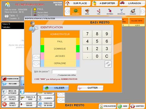 Identification d'un serveur avec Easy Resto *