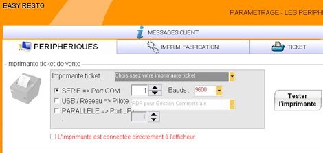 La gestion de l'imprimante-ticket dans Easy Resto *
