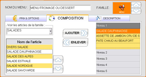 Composition d'un menu