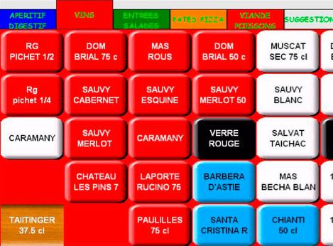 Pavé tactile des articles du logiciel de restaurant Euresto