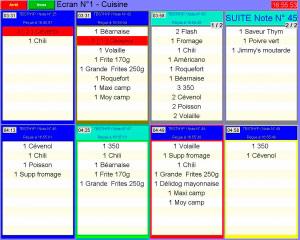 euresto: écran affichant les commandes en cuisine