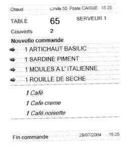 ticket de commande en cuisine, imprimé par Euresto