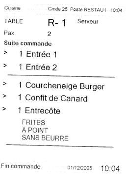ticket de suite de commande en cuisine, imprimé par Euresto