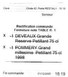 ticket de rectification de commande envoyé en cuisine, imprimé par Euresto