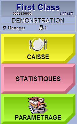 menu de l'écran de caisse de Firstclass