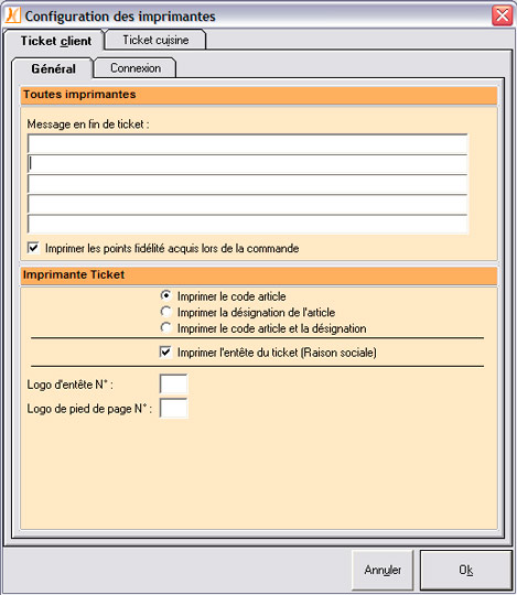 Configuration de l'imprimante-ticket dans Nestor