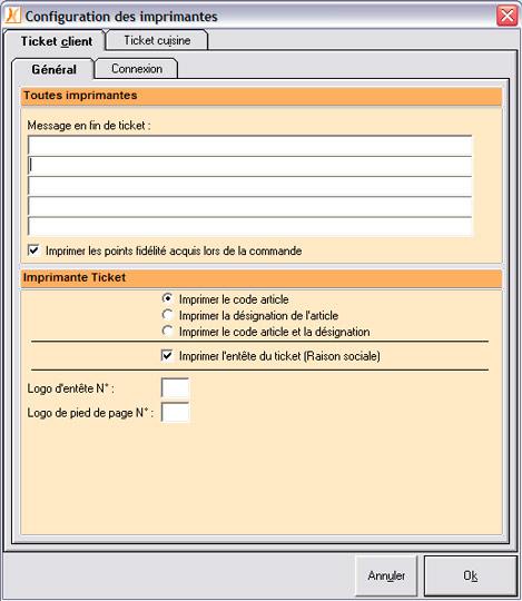 Configuration de l'imprimante-ticket dans Nestor