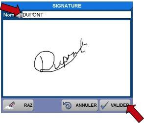 Signature du client sur le logiciel de restaurant Orchestra