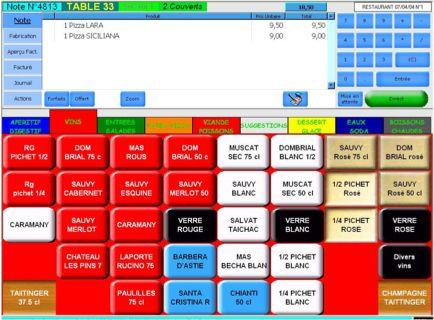 euresto de tbs-industrie: écran de saisie des commandes