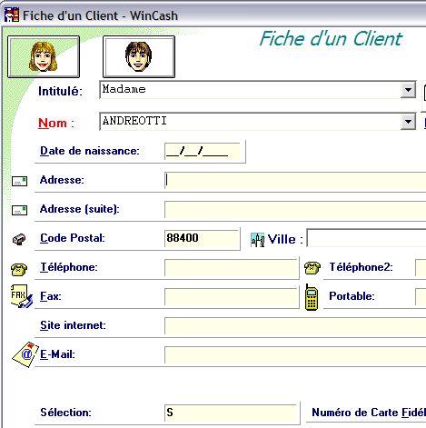 wincash: fiche client
